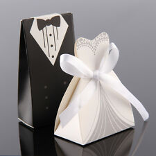50pcs Wedding Favor Candy Box Bride & Groom Dress Tuxedo Party Ribbon Gift