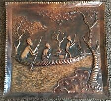 Vintage African Beaten Copper Plaque Mother Baby River Boat Journey Scene Signed