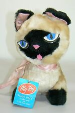 "Vintage Siamese My-Toy Plush Cat with original tag ""PLUSH PALS"" custom made"