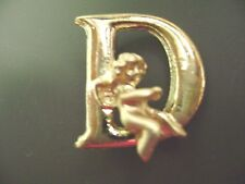"NWT- FASHION  GOLD TONE INITIAL LETTER ""D"" ANGEL CHERUB  PIN/BROOCH"