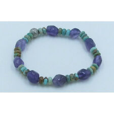 .925 Sterling Silver REAL Kingman Turquoise Purple Amethyst Stretch Bracelet