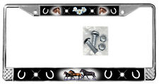Horses Black Backdrop License Plate Frame Gifts Polished Metal & Screws TXT