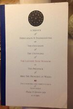Princess Diana Cathedral St Alban's Programme Unveiling Laporte Rose Window 1989