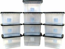 clear plastic Storage Boxes With black Lids set of 10x 24 ltr