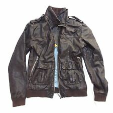 EUC SUPERDRY BRAD BROWN LEATHER MOTO MOTORCYCLE JACKET XL EXTRA LARGE