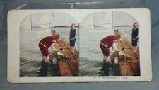 "Antique Stereoview Card ""No. 14 Giving Prince A Wash"" Puppy Dog"