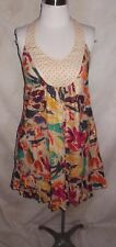 French Connection Dress Size 2 Floral Beaded Metallic Racer Back Ruffle