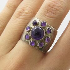 Estelle Vtg 925 Sterling Silver Natural Amethyst Gemstone Wide Ring Size 7