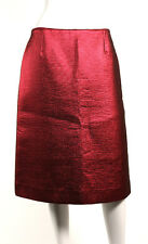 LOUIS VUITTON NWT Metallic Garnet Red Wool Silk Lame Pencil Skirt 40