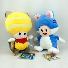 """2X Super Mario Bros Flying Squirrel and Cat Toad Plush Toy Soft Yellow Blue 9"""""""