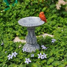 Miniature Dollhouse Fairy Garden Red Cardinal Bird Birdbath New