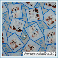 BonEful Fabric FQ Cotton Quilt Blue Puppy Dog Brown Baby Tan Block Paw Breed Lab