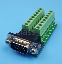 D-SUB DB15 VGA Male 3Row 15Pin Plug To Terminal Breakout Board Connectors