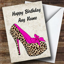 Leopard Print Stiletto Pink Personalised Birthday Greetings Card