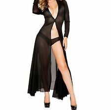 Sexy See Through Mesh Dress Very Low Neck Slit to Waist Faux Latex Trim Neck