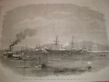 French and Austrian Imperial Yachts enter Red sea from Suez Canal 1869 old print