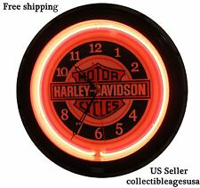 Harley-Davidson Motor Cycles Red Neon Wall Clock Car Truck Automotive Sign