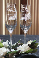 Peacock Feather Personalized Wedding Toasting Glasses