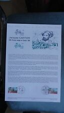 JACQUES CARTIER CANADA QUEBEC COLLECTION HISTORIQUE DU TIMBRE 1ER JOUR
