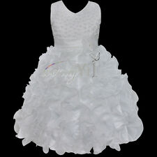 Girl Princess Flower Party Evening Wedding Pageant Prom Birthday Gown Dress 9-10
