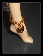 JEWELRY BARBIE DOLL MODEL MUSE JUICY COUTURE FAUX GOLD HEART  BRACELET  DIORAMA