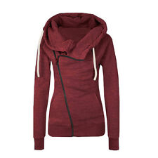 Womens Winter Warm Zipper Zip Top Hoodie Hooded Sweatshirt Coat Jacket Pullover