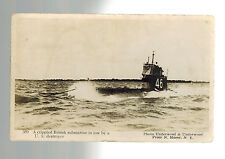 Mint WW 1 British Navy Real Picture Postcard Submarine Being Towed by US Ship