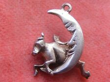 VINTAGE STERLING SILVER CHARM COW JUMPED OVER THE MOON