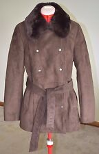Wilsons Leather Small Brown Long Coat Jacket Faux Suede Real Rabbit Fur
