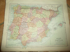 MAP c1920 SPAIN+PORTUGAL  From Stanfords London Atlas of Universal Geography