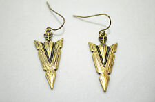 Vintage Antique Bronze Geo Triangle Aztec Drop/Dangle Hook Earrings Length:4.3cm