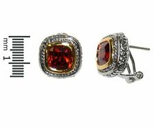 Casual Antique TwoTone Ruby Red Cubic Zirconia Omega Back Earrings