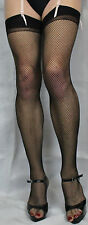 Black Fishnet Stockings One Size Suspender FriendlyTop