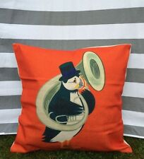 Puffin Cushion Cover, Luxury, Red, Children's, Tuba, Music, Nursery, Vintage