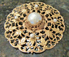 """HUGE 4"""" Vintage Signed Miriam Haskell Russian Gold Tone Baroque Pearl Brooch Pin"""
