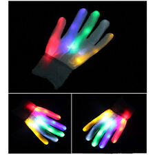 1 pair Cool LED Rave Flashing Gloves Glow  Light Up Finger Lighting White NEW