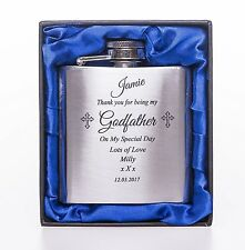 Personalised *NEW* GODFATHER 3oz Stainless Steel Hip Flask in Blue Silk Gift Box