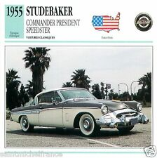 STUDEBAKER COMMANDER PRESIDENT SPEEDSTER 1955 CAR UNITED STATES CARTE CARD FICHE