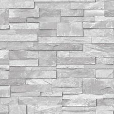 Light Grey A17202 Natural Stone Brick Slate Effect Vinyl Wallpaper Ideco