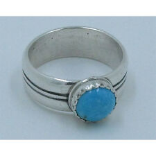 .925 Sterling Silver Natural Blue Turquoise CLOUDY DAY Ring Size 8