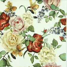 4x Single Table Party Paper Napkins for Decoupage Decopatch Vintage Roses White