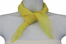 Women Fine Fashion Small Size Neck Tie Scarf Color Yellow Sheer Square Pocket