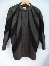 Leather Jacket Ladies Batwing With Suede Detailing Size 14 Vintage Early 1990s