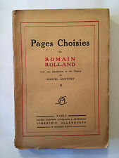 PAGES CHOISIES ROMAIN ROLLAND 1921 VOL 2 MARCEL MARTINET