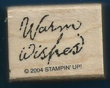 WARM WISHES Script Writing Stampin' Up! 2004 small Wood Mount Craft RUBBER STAMP