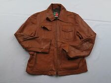 Vtg Mens Willaim & Barry Car Western Brown Mod Indie Leather Jacket Coat Sz S