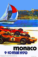 1970 Monaco Grand Prix Automobile Race Car Advertisement Vintage Poster