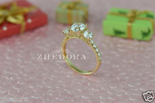 2.20 CT Three Stone with Accent Ring Engagement Wedding Band 14K Yellow Gold