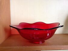 Vintage rich amberina  ruby red ruffle edge large bowl