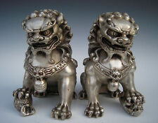 Chinese Antique Silver Guardian Lion Foo Fu Dog Door guard Statue A Pair